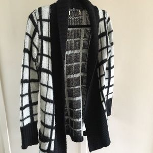 Open Front Black and Grey Cardi